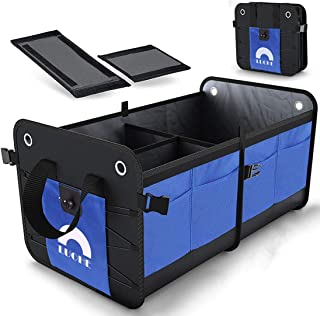 Car Trunk Organizer Collapsible Portable Multi Compartments Heavy Duty Non-Slip Durable Storage Cargo Trunk Organizer Storage containers for Cars, Blue