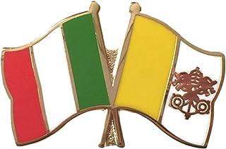 Italy bandiere & Stato della Città del Vaticano dell'amicizia, preciso Spilla placcata in oro