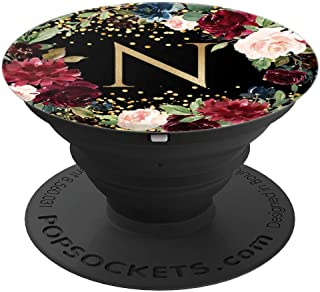 Initial Letter N Black Burgundy Red Floral Wreath Monogram - PopSockets Grip and Stand for Phones and Tablets