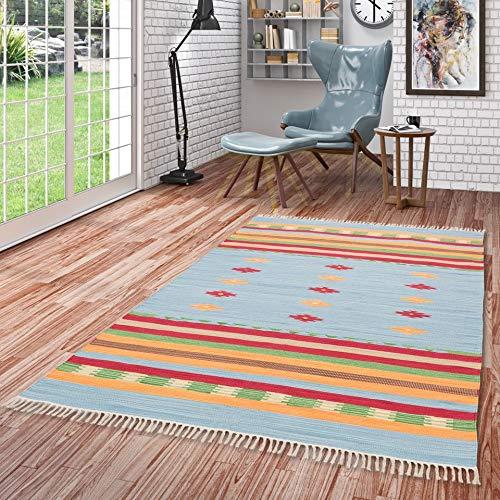 Pergamon Baumwolle Natur Kelim Teppich Lina Blau Stripes in 7 Größen