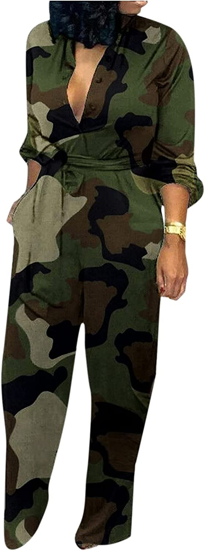 Euone_Clothes Jumpsuit for Women, Women Casual Long Sleeves Print Pocket Romper Long Playsuit Button Jumpsuit