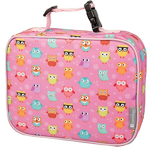 Bentology Lunch Box for Girls - Kids Insulated Lunchbox Tote Bag Fits Bento Boxes - Owl