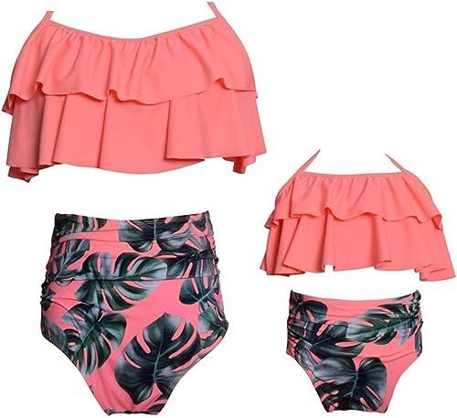 Cicongzai Maillot de Bain à Volants Bikini Taille Haute mère et Fille Maillot de Bain en Nylon de Couleur Assorcravate (Couleur   2, Taille   128)