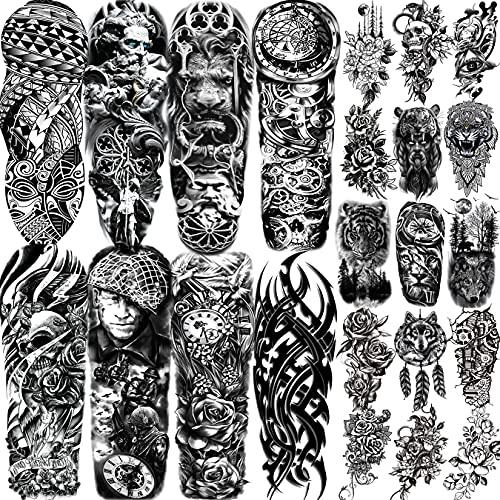 EGMBGM 23 Blatt Full Arm Temporäre Tattoo Ärmel Männer Damen Einschließlich 8 Blatt Voller Arm Temporäre Tattoos Erwachsene Militär und 15 Blatt Groß temporäre Tattoos Frauen Herren Blumen kompass
