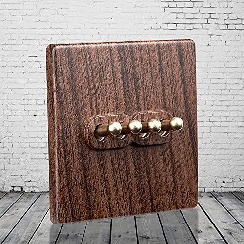 Palanca Interruptor de luz de pared de madera Color de grano de madera Retro Toggle Interruptor del interruptor de metal de latón 1-4 Gang 2 Way Lámpara de doble control doble para sala de estar