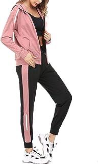 Aibrou Survêtement Femme 2 Pièce Ensembles Sportswear Sweat Zippé à Capuche + Pantalon Sports Pyjama d'intérieur Tenue pou...
