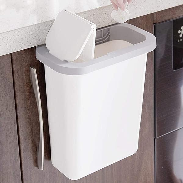 FOONEE Hanging Trash Can With Lid Reusable Plastic Small Cabinet Trash Bin Deskside Garbage Storage Baskets With Concealed Drawer For Kitchen Bedroom Living Room White