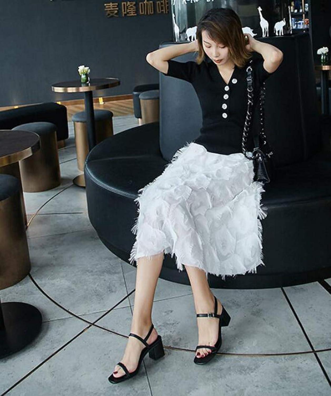 XLBHSH Damenschuhe Sandalen & Sandaletten High Heel Sandaletten Niedrige Absatz mit schnallen syntetische Sandalen,schwarz,37