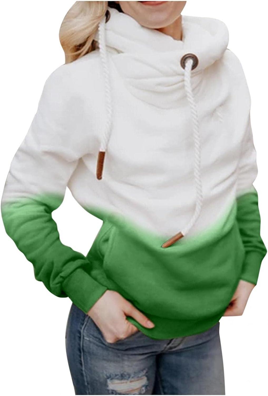 Toeava Fashion Hoodies for Women, Women's Casual Contrast Color Turtleneck Hooded Sweatshirt Long Sleeve Warm Pullover