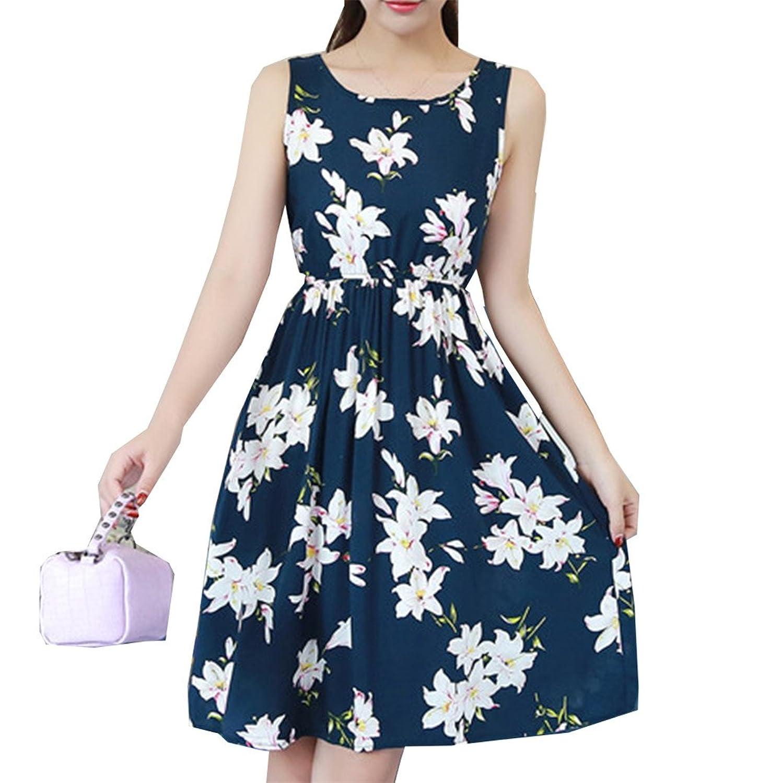[美しいです]プリント弾性ウエスト大サイズノースリーブコットンコットンコットンドレスベストスカート