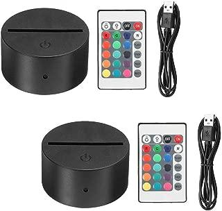 Thlevel 2X3D Night LED Light Lamp Base + Remote Control + USB Cable Adjustable 7 Colors Decorative Lights for Child Room Bedroom Living Room bar Shop Cafe Restaurant Office(2Pcs Black)