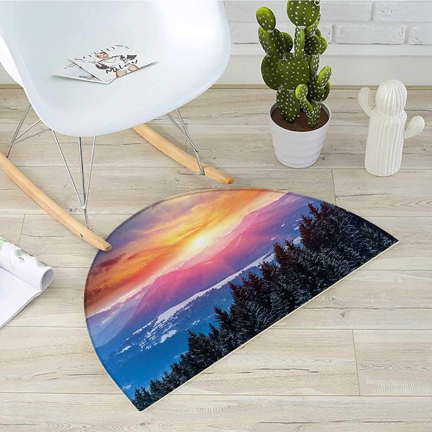 Winter Semicircular CushionSunset in Mountains with Hazy Lights with Magical Dawn Horizon Theme Entry Door Mat H 39.3  xD 59  orange bluee