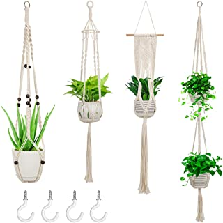 Ziduohui Macrame Plant Hangers,4 Pack Wall Hanging Planter Stand Indoor Outdoor Hanging Plant Holder Flower Pot Basket Net...