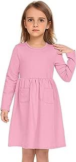 Girls Long Sleeve Dress Casual Pocket Swing Skater Dress