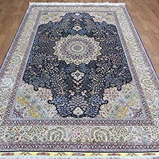 6'x9' FACTORY PRICE!!!! Blue Persian Carpets Hand Knotted Natural Silk Rug