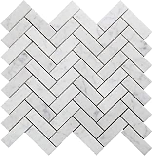 Diflart Italian White Carrara Marble Mosaic Tile Polished, 5 Sheets/Box (1×3 Herringbone)
