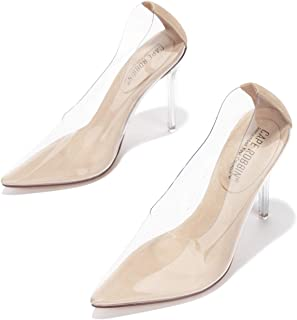 Cape Robbin Glass Doll Clear Stiletto High Heels for Women, Slip On Sexy Shoes with Pointed Toe