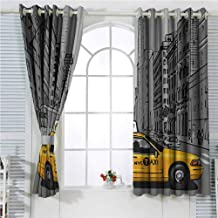hengshu American Eclipse Blackout Curtains New York City Metropolitan Buildings and Taxi Cartoon Sketchy Image Patio Door Curtains Living Room Decor W96 x L96 Inch Charcoal Grey and Yellow