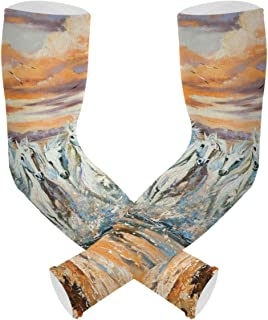 Cooling Arm Cover UV Protection Sleeves - The Horses Running From Waves Oil Painting Temporary Tattoo Sleeves for Women & ...