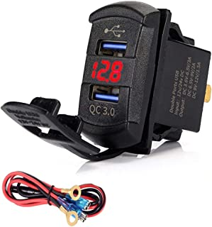 Dinfoger Quick Charge 3.0 Dual USB Rocker Switch QC 3.0 Fast Charger LED Voltmeter for Boats Car Truck Motorcycle Smartphone Tablet