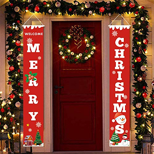 Quimoy Christmas Porch Sign Decorations Banner, 71x12 Inch Christmas Hanging Banners, Red Merry Christmas Welcome Sign Banner for Indoor Outdoor Front Door Living Room New Year Party Decor