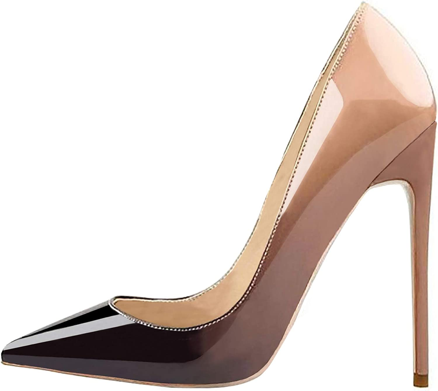 Lovirs Womens Nude-Black Pointed Toe High Heel Slip On Stiletto Pumps Wedding Party Basic shoes 10 M US