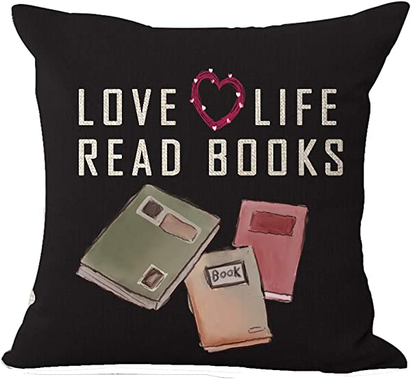 ASTIHN Love Life Read Books Black Background Cotton Linen Throw Pillow Cover Cushion Case Home Chair Office Decorative Square 18 X 18 Inches E