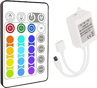 Aourow Télécommande à Ruban LED 5M de Remplacement,Télécommande IR à 24 Boutons pour Bandes LED RGB (Contrôleur 1 à 1)