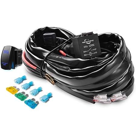 Amazon.com: MICTUNING HD+ 12 Gauge LED Light Bar Wiring Harness Kit with  60Amp Relay, 3 Free Fuse, Rocker Switch Blue(2 Lead): AutomotiveAmazon.com