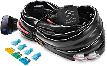 MICTUNING HD+ 12 Gauge LED Light Bar Wiring Harness Kit with 60Amp Relay, 3 Free Fuse, Rocker Switch Blue(2 Lead)