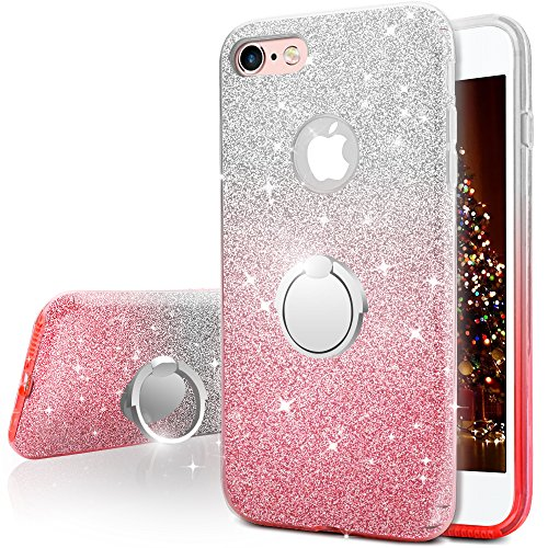 Miss Arts Funda iPhone 6S Plus, Funda iPhone 6 Plus, Carcasa Brillante Brillo con Soporte, Cubierta Exterior de TPU Suave + armazón Interior de PC Duro para Apple iPhone 6S / 6 Plus -Rosado