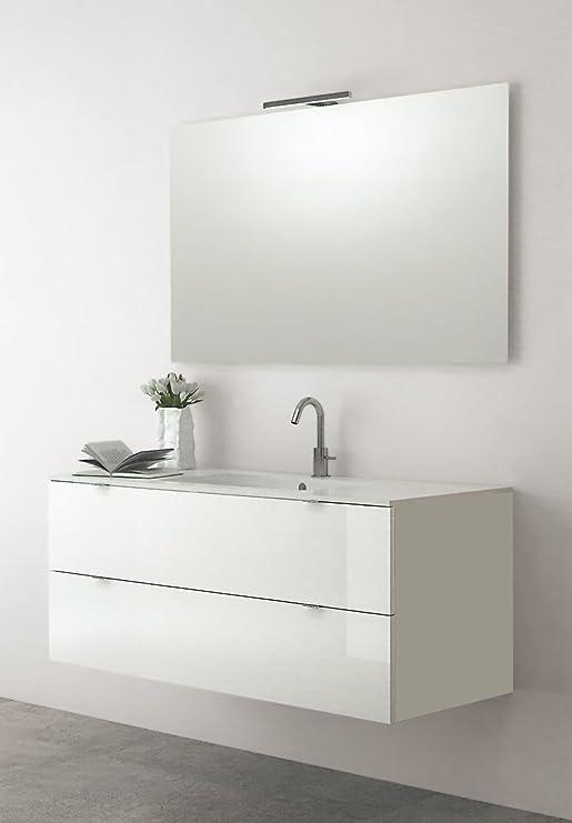 Yellowshop - Mobile Bagno sospeso Legno Modello Attila 80 cm con lavabo Specchio LED e Colonna Varie Colorazioni Completa Bianco Lucido