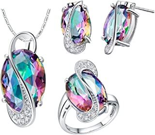 White Gold Plated Jewelry Set Rainbow Mystic Topaz Ring Earrings Pendant Necklace T472