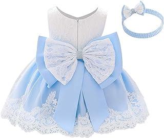 OBEEII Baby Girl Lace Flower Ruffle Tutu Dress First Christening Baptism Holy Communion