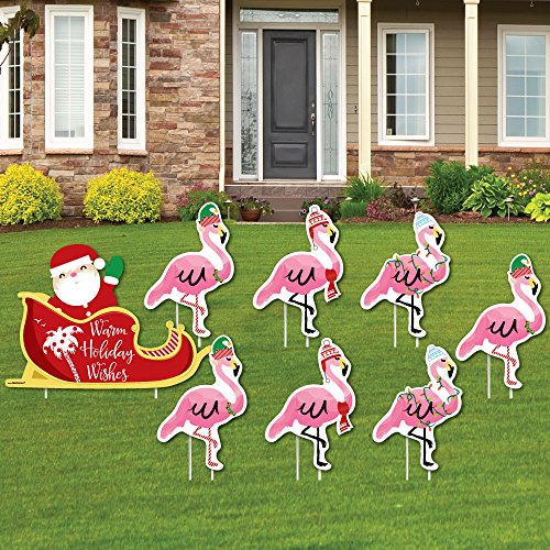 Big Dot of Happiness Flamingle Bells - Yard Sign and Outdoor Lawn Decorations - Tropical Flamingo Christmas Yard Signs - Set of 8