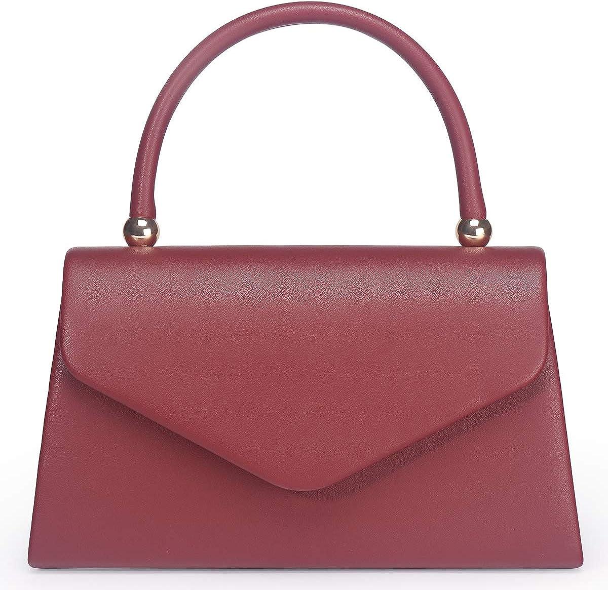 Women's Classic Envelope Evening Bag, WALLYN'S Wedding Prom Party Clutch Handbag Purse