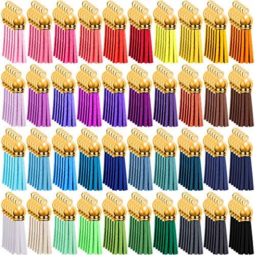 Duufin 200 Piezas Borlas de Llaveros Colgantes de Borlas Mini Borlas de Ante para Llavero DIY Accesorios, 40 Colores(Gorra de Dorados)