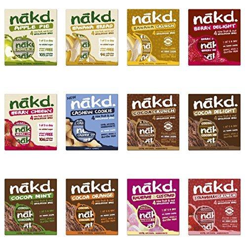 Nakd Fruit & Nut Bars Mixed Case Selection 48 Bars *Vegan, Raw, Wholefood, Wheat Free* by Nakd
