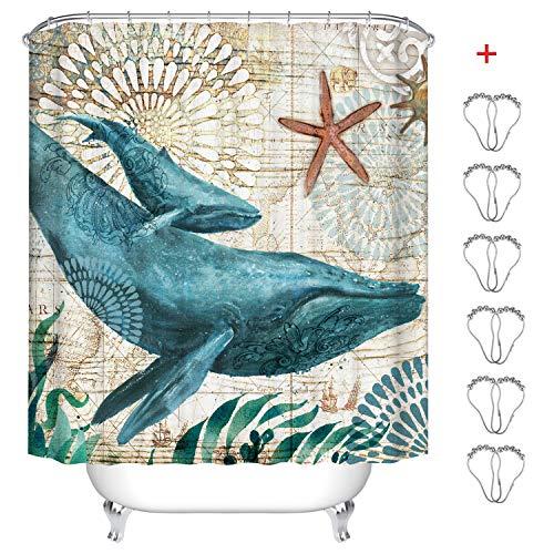 MIN-XL Duschvorhang Anti-Schimmel Textil Waschbar Anti-Bakteriel Badvorhänge 3D Wasserdicht Duschvorhänge mit 12 Edelstahl Duschvorhangringe für Badezimmer (Wal, 180 x180 cm)
