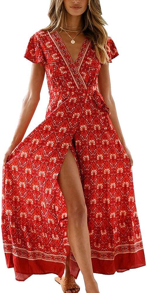 PRETTYGARDEN Women's Summer Bohemian Floral Printed Ruffle Hem Split Belted Flowy Long Dress