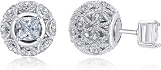 Fashion Double Sided 18K White Gold Plated Stud...