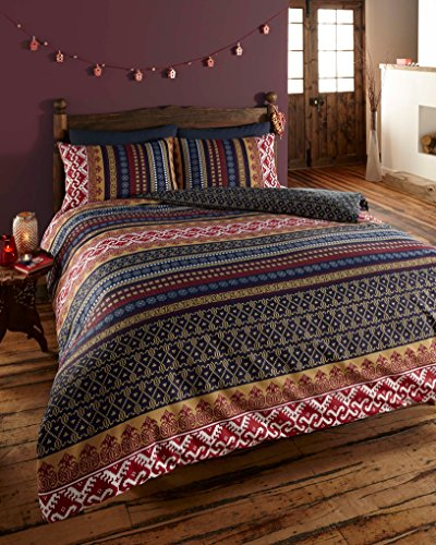 Ethnic Indian Print Bedding - Quilt Cover Bed Set with Pillow Cases (King)