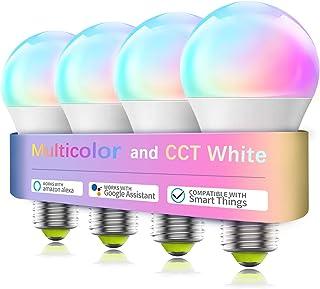 Smart WiFi Bulb No Hub Required, A19 E26 7W (60w Equivalent) 2700-6500k Tunable White RGB Music Sync LED Lights, Compatibl...