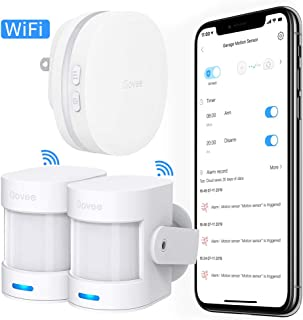 Govee Wi-Fi Motion Sensor Alarm, Remote Motion Detector for Home Security, Indoor Door Sensor with APP Notifications, 2 PIR Motion Detectors and 1 Plug-in Gateway - Not Support 5G