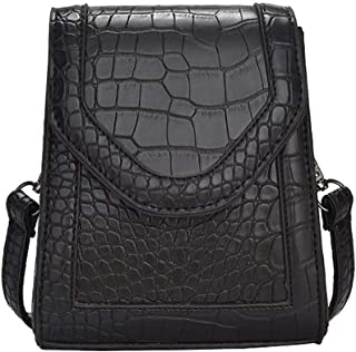 Fashion Women's Bags PU(Polyurethane) Crossbody Bag Embossed Solid Color Red/Brown/Light Grey (Color : Black)