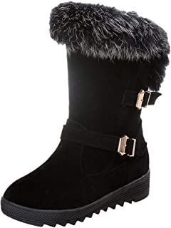 HebeTop ◕‿◕ Fur Lined Womens Snow Boots Flat Heels Winter Ankle Booties Shoes Warm Boots