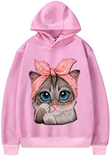 GOWOM Women Cat Print Long Sleeve Pullover Loose Hooded Sweatshirt Sweater Blouse Tops