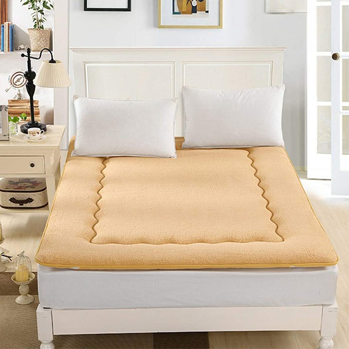 葉っぱ導出資本主義フランネル 日本語 床 布団 マットレス, パッドを睡眠 マットマット 日本語 ベッド ロール 式 マットレスをロールアップします。 マットレス トッパー パッド -イエロー 135x200cm(53x79inch)