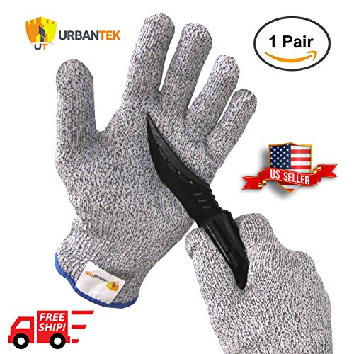Urbantek Cut Resistant Gloves - High Performance Level 5 Protection, Food Grade - All Sizes - Perfect for cutting, slicing, cooking, yard work and more! (Medium)