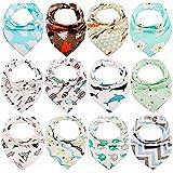 Tomkity 12pcs Baberos Bandana Baberos Bebe Diseño de Animales para Bebés y...